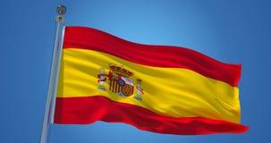 Hiszpania flaga w wiatrze przeciw jasnemu niebieskiemu niebu, 3d ilustracja ilustracja wektor