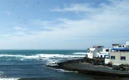 Hiszpania, Fuerteventura, El Cotillo Schronienie scena zdjęcia stock