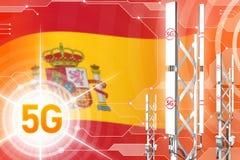 Hiszpania 5G przemysłowa ilustracja, ogromny komórkowy sieć maszt lub wierza na nowożytnym tle z flagą, - 3D ilustracja royalty ilustracja