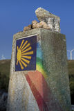 Hiszpania, Galicia, Camino de Santiago kamień milowy Fotografia Royalty Free