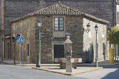 Hiszpania, Galicia, Melide, Camino de Santiago kamień milowy Obrazy Royalty Free