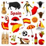 Hiszpania ikony ustawiać Hiszpańscy tradycyjni symbole i przedmioty royalty ilustracja