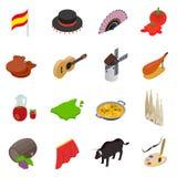 Hiszpania isometric 3d ikony Obraz Royalty Free