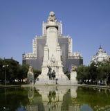 Hiszpania kwadrat z zabytkiem Cervantes, Madryt, Hiszpania zdjęcie royalty free