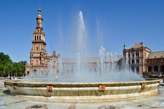 Hiszpania kwadrata plac Hiszpania w Seville, Hiszpania zdjęcie royalty free