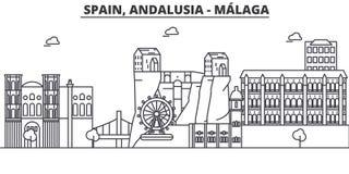 Hiszpania, Malaga, Andalusia architektury linii linii horyzontu ilustracja Liniowy wektorowy pejzaż miejski z sławnymi punktami z Zdjęcie Royalty Free
