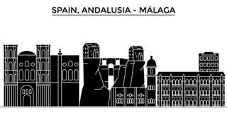 Hiszpania, Malaga, Andalusia architektury miasto wektorowa linia horyzontu, podróż pejzaż miejski z punktami zwrotnymi, budynki,  Obraz Royalty Free