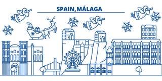 Hiszpania, Malaga, Andalusia zimy miasto linia horyzontu wesoło Zdjęcie Stock