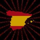 Hiszpania mapy flaga na czerwonej hex kodu wybuchu ilustraci Obraz Royalty Free