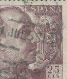HISZPANIA - OKOŁO 1949: Stempluje drukowanego w pokazywać portret generał Francisco Franco 1892-1975 Fotografia Stock