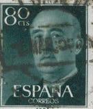 HISZPANIA - OKOŁO 1949: Stempluje drukowanego w pokazywać portret generał Francisco Franco 1892-1975 Fotografia Royalty Free