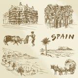 Hiszpania - ręka rysująca kolekcja Fotografia Royalty Free