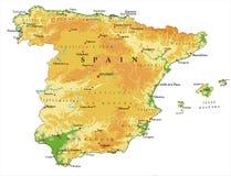Hiszpania reliefowa mapa Obrazy Royalty Free