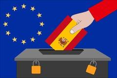 Hiszpania tajnego głosowania pudełko dla Europejskich wyborów zdjęcia royalty free
