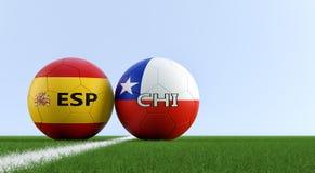 Hiszpania vs Chile mecz piłkarski - piłek nożnych piłki w Hiszpania i Chile krajowych kolorach na boisku do piłki nożnej ilustracja wektor