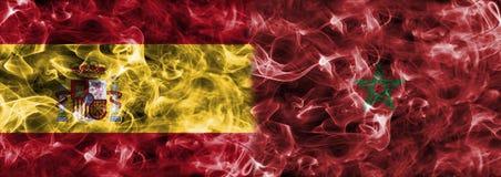 Hiszpania vs Maroko dymu flaga, grupowy b, futbolowy puchar świata 2018, M Obrazy Stock