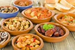 Hiszpańscy Tapas & Skorupiasty chleb Zdjęcia Royalty Free