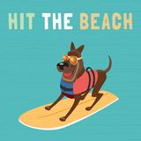 Hit the beach icon. Time for adventure. Cute comic cartoon. Colorful humor retro style. Pet surf in life vest on beach for fun leisure relax. Dog days of Summer Stock Image
