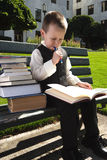 Hit the Books. A young boy is studying hard for school Royalty Free Stock Photo