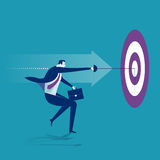 Hit. Businessman ting the bull's-eye. Concept business illustration Royalty Free Stock Photos
