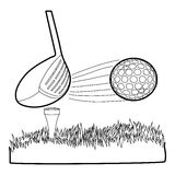 Hit golf ball icon, outline style. Hit golf ball icon. Outline illustration of hit golf ball vector icon for web Royalty Free Stock Image
