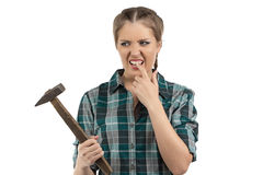 Hit with a hammer on finger Royalty Free Stock Image