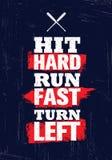 Hit hart Der schnelle Lauf biegen nach links ab Baseball-Sport-Anspornungsmotivations-Zitat-Druck-Schablonen-Illustration Sportpl stock abbildung