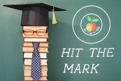 Hit the mark. Funny education concept royalty free stock photos
