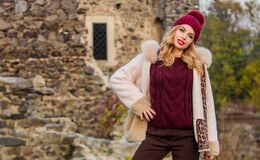 Free Hit Of Season. Stay Warm And Fashionable. Woman Wear Furry Coat. Winter Clothes. Wardrobe For Cold Weather. Girl Stand Royalty Free Stock Images - 170395729