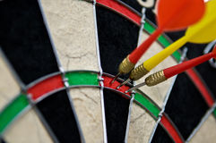 Hit point in darts. Triple hit point in darts. Success concept Stock Photos