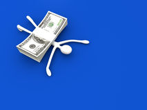Hit by Profit. A cartoon figure hit by Dollars. 3D rendered Illustration Stock Photography