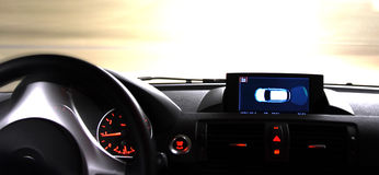 Hit the Road and Drive. Driving a Car.Inside view. Copyspace provided Stock Photo