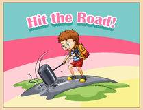 Hit the road idiom Royalty Free Stock Image