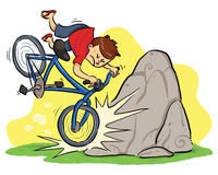 Hit A Rock. A boy cycling and then hit a rock. Vector EPS8 file Royalty Free Stock Photo