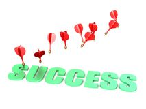 Hit success with darts illustration Royalty Free Stock Image
