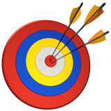 Hit a target 100 percents (Hi-Res). Three arrows in bull's eye target. This is a detailed 3D render. Isolated on white Vector Illustration