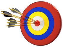 Hit a target 100 percents (Hi-Res). Seven arrows in bull's eye target. This is a detailed 3D render. Isolated on white Stock Illustration