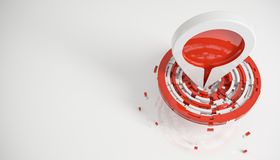 Hit the target and be on top concept  on white 3d render. Ing Stock Photography