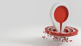 Hit the target and be on top concept  on white 3d render. Ing Stock Photos