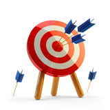 Hit the target concept, successful business strategy and targeting. Target with arrows hitting the center isolated on white background Stock Images