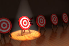 Hit the target concept, successful business strategy and targeting Royalty Free Stock Photos