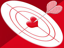 Hit target heart. Arrow hitting the center of red target heart Vector Illustration