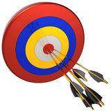 Hit a target (Hi-Res). Seven arrows in bull's eye target. Isolated on white. 3D render Royalty Free Stock Images