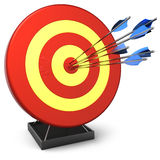 Hit a target (Hi-Res). Six arrows in bulls eye target. Isolated on white. 3D render Stock Image