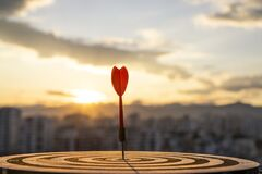 Free Hit The Target With An Arrow And Sunset Stock Photography - 215506382