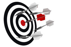 Hit to the bull's-eye. Metalic darts, red Royalty Free Stock Image