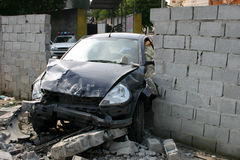 Hit the wall. A vehicle hit the wall Royalty Free Stock Photos