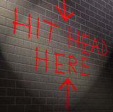 Hit your head against brick wall. Royalty Free Stock Photos