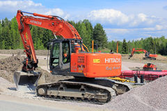 Hitachi Zaxis 225 USRL Crawler Excavator at Construction Site Royalty Free Stock Images