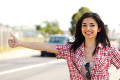 Hitch-hiker Woman Royalty Free Stock Photos